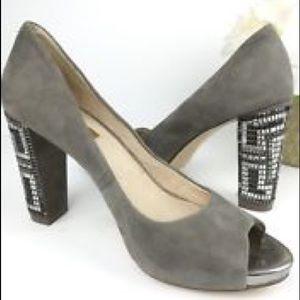 Grey Heel Peep Toe